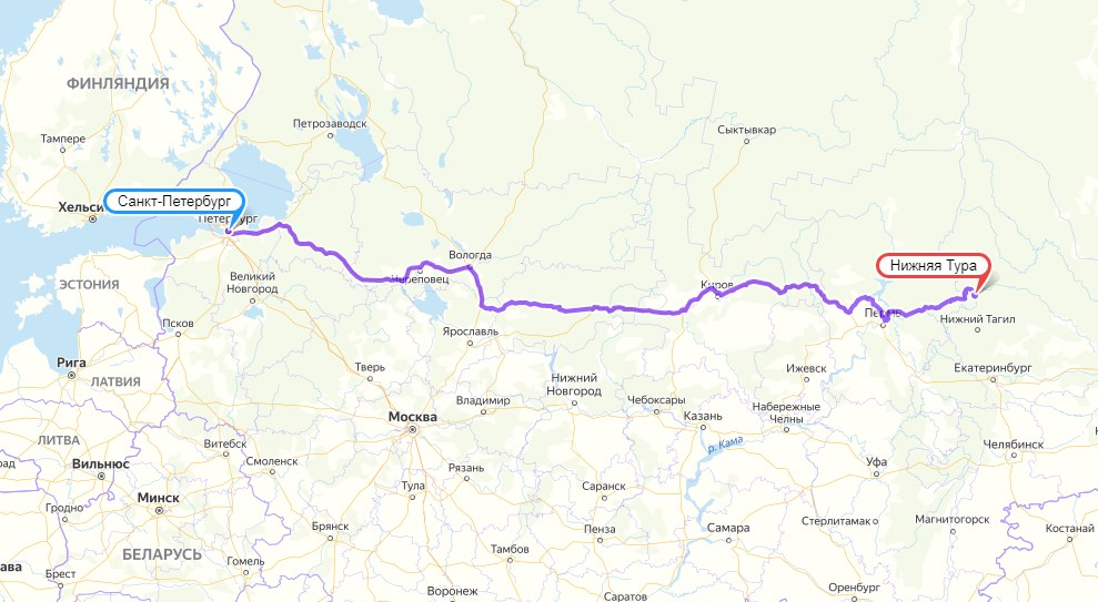 Санкт-Петербург - Нижняя-Тура